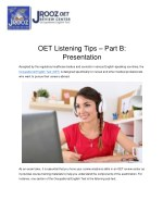 OET Listening Tips – Part B: Presentation