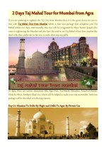 2 Days Taj Mahal Tour for Mumbai from Agra