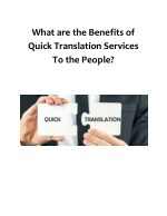 What are the benefits of Quick Translation Services to the people?
