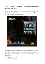 Enjoy Camping Trip With Your Team On Corporate Outing Near Delhi