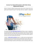 Increase Your Nonprofit Donations with Online Giving Supported by Payscout