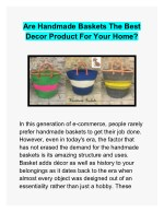 Are Handmade Baskets The Best Decor Product For Your Home?