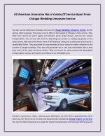 All American Limousine Has a Variety Of Service Apart From Chicago Wedding Limousine Service