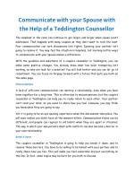Communicate with your Spouse with the Help of a Teddington Counsellor