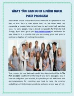 What You Can Do In Lower Back Pain Problem