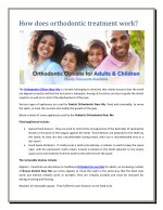 How does orthodontic treatment work