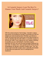 Cosmetic Surgery Loan To Finance Your Plastic Surgery