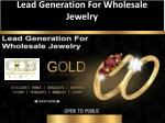 Lead Generation For Wholesale Jewelry
