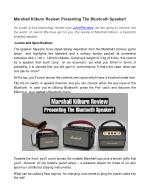 Marshall Kilburn Review: Presenting The Bluetooth Speaker!