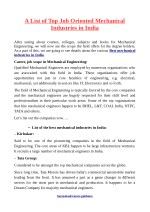 A List of Top Job Oriented Mechanical Industries in India