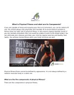 What is Physical Fitness and what are its Components?