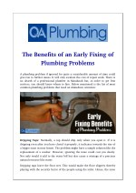 The Benefits of an Early Fixing of Plumbing Problems