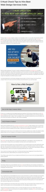 5 Must Check Tips: To Hire Best Web Design Services In India