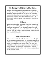 Reducing Fall Risks in the Home