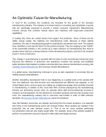 An Optimistic Future for Manufacturing