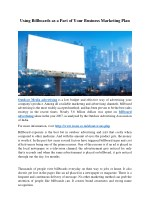 Using Billboards As a Part of Your Business Marketing Plan