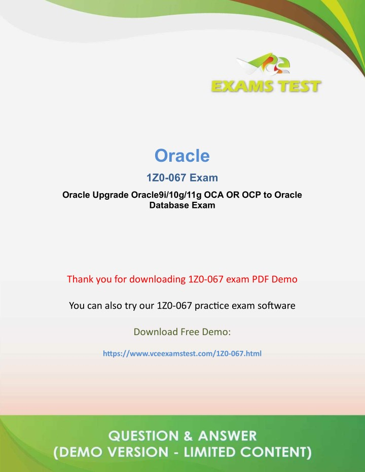 PPT - Get Latest Oracle 1Z0-067 VCE Exam Software 2018 - [DOWNLOAD
