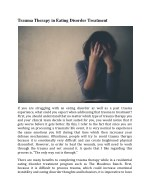 Trauma Therapy in Eating Disorder Treatment