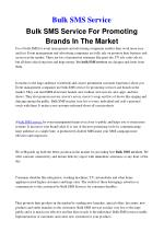 Bulk SMS Service For Promoting Brands In The Market