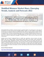 Modified Bitumen Market Share, Emerging Trends, Analysis and Forecasts 2022