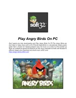 Play Angry Birds On PC