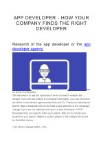 APP DEVELOPER - HOW YOUR COMPANY FINDS THE RIGHT DEVELOPER