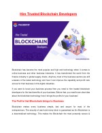 Hire Trusted Blockchain Developers