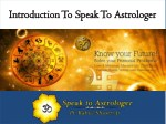 Introduction To Speak To Astrologer