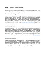 How to Find a Manufacturer