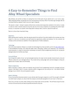 6 Easy-to-Remember Things to Find Alloy Wheel Specialists