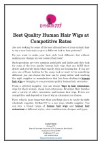 Best Quality Human Hair Wigs at Competitive Rates