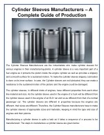 Cylinder Sleeves Manufacturers – A Complete Guide of Production