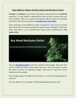 Enjoy Different Options And Buy Weeds and Marijuana Online!