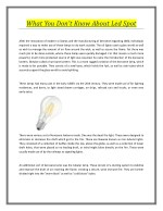 What You Don't Know About Led Spot