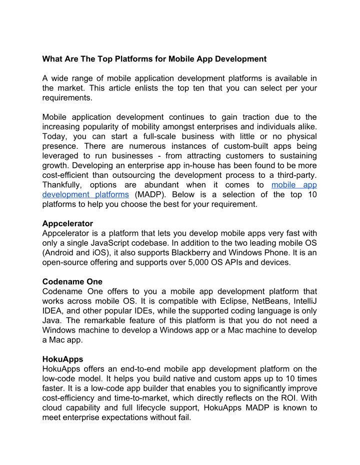 PPT - What Are The Top Platforms for Mobile App Development