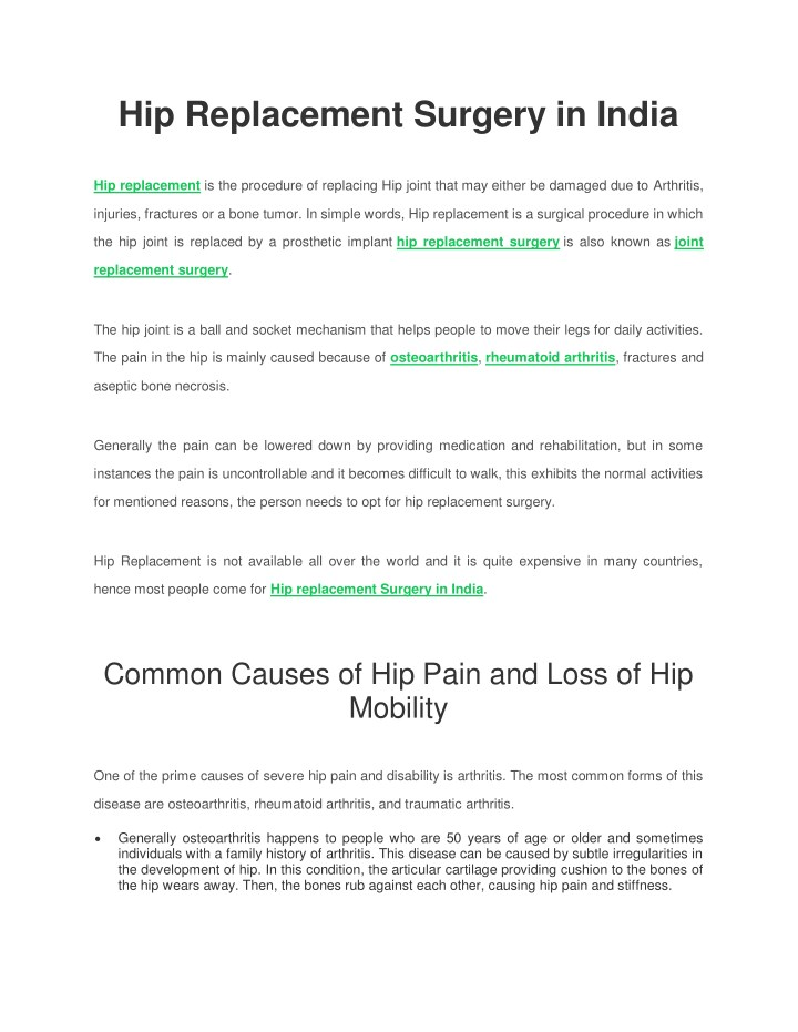 hip replacement surgery in india n.
