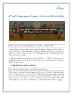 5 Tips To Boost your eCommerce Magento Website Sales