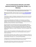 Free Live Entertainment Abounds at the 2018 Monterey County Fair, Coming Aug. 30-Sept. 3, in Monterey