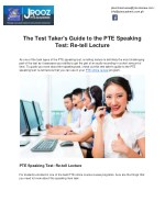 The Test Taker's Guide to the PTE Speaking Test: Re-tell Lecture