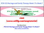 PCN 521 Marriage and Family Therapy Week 1 To Week 7