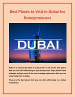 Best Places to Visit in Dubai for Honeymooners