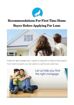 Recommendations For First Time Home Buyer Before Applying For Loan