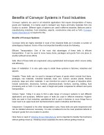 Benefits of Conveyor Systems in Food Industries