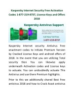 Kaspersky Internet Security Free Activation Codes 1-877-219-8737, License Keys and Offers 2018