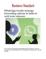 WhatsApp tweaks message forwarding options in India to curb toxic rumours