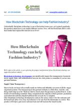 How Blockchain Technology can help Fashion Industry