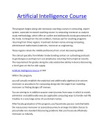 Artificial Intelligence Course Artificial Intelligence Course Online