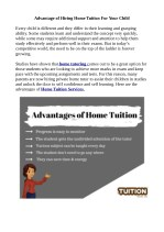 Advantage of Hiring Home Tuition For Your Child
