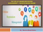 Top Tips of Online Reputation Management | Massive Brand Online
