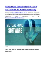 Mutual fund software for IFA an IFA can increase his Aum unexpectedly